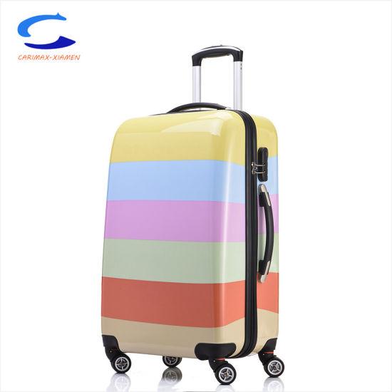 e7c39a651a9c 28′′ Tsa Lock Factory Exported Wholesale Rainbrow Multicolor Printed  Surface PC Hardside Shell Trolley Luggage Travel Suitcase