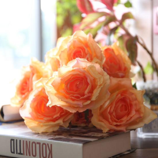 7 Head Artificial Flower Fake Big Rose Bride Bouquets Wedding Silk Flowers Centerpieces