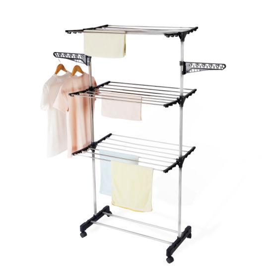 China 165cm Balcony Stainless Steel Tube Three Layers Clothes Airer