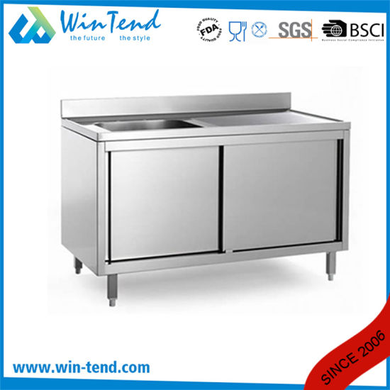 Industrial Stainless Steel Kitchen Work Table Cabinet with Single Sink pictures & photos