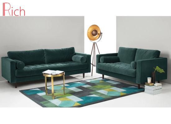 Living Room Furniture Sectional Couch Green Velvet Corner Sofa