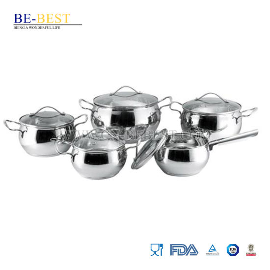 10PCS Stainless Steel Rolled Edge Cookware Set