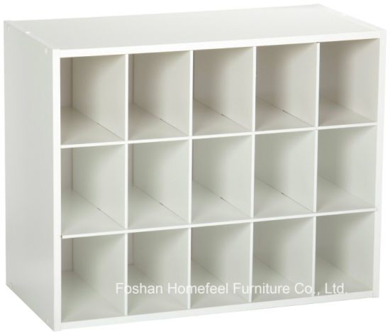 White Wooden Stackable 15-Cube Organizer Storage Cabinet pictures & photos