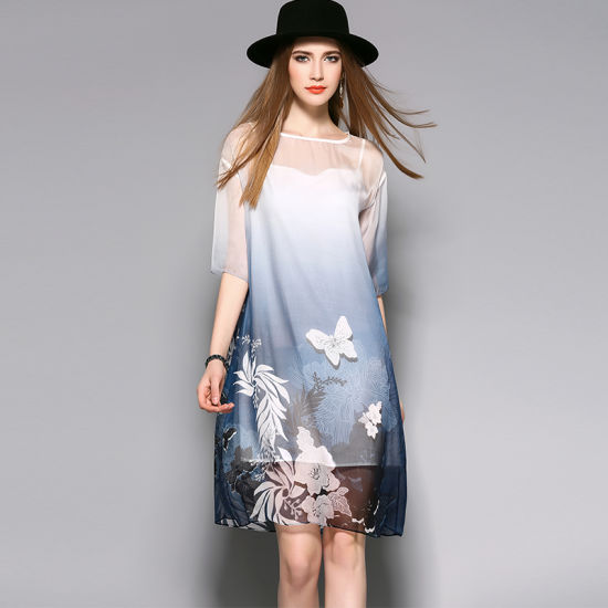 Boat Collar Floral Loose Elegant Silk Gradient Women Dress pictures & photos