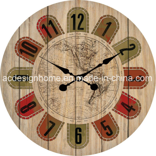 China best price world map design mdf wooden wall clock for interior best price world map design mdf wooden wall clock for interior and home decor gumiabroncs Images