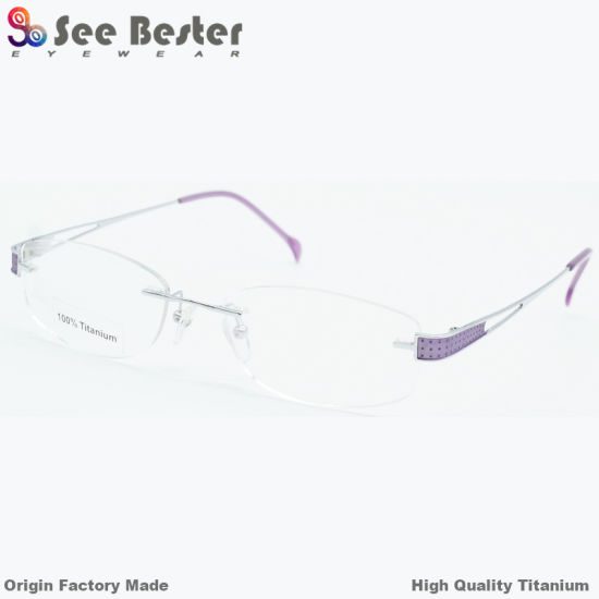 1468e65f5852 100% Titanium High Quality Rimless Optical Frames with Double Color Frame  Titanium Eyeglasses Rectangular Good Quality Titanium Eyeglass