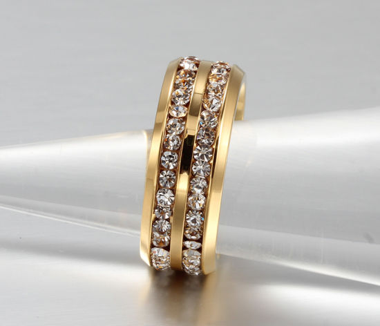 China 18K Gold Plating Double Row Jwelry Rings with Price