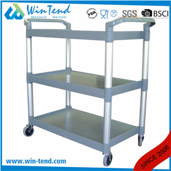 3 Tiers Plastic Service Cart Dining Trolley Black Grey for Kitchen pictures & photos
