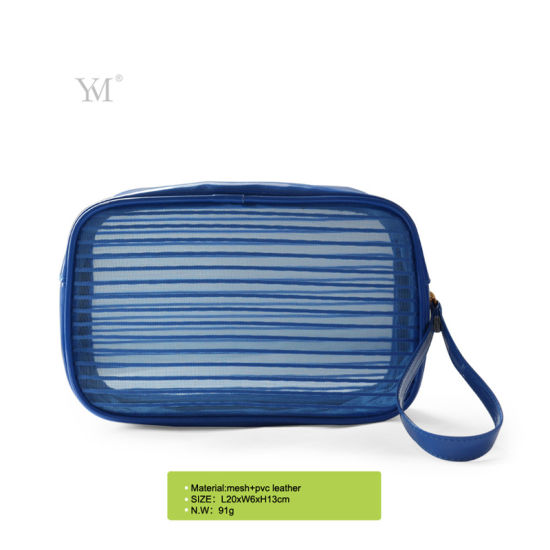 Girl Fashion Best Price Stripe Cosmetic Bag with Wrist pictures & photos