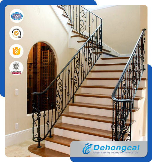 Indoor Stair Steel Fence / Galvanized Wrought Iron Staircase Railing  Balustrade