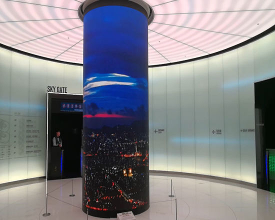 P6mm Flexible Module Video Advertising Curved Cylinder Full Color LED Screen Display