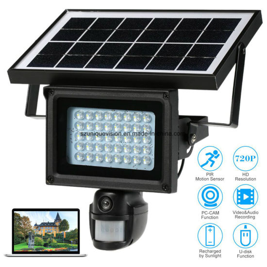 Solar Powered Floodlight PIR Motion Detection WiFi IP CCTV Camera pictures & photos