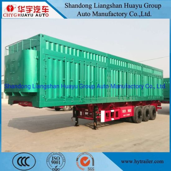 Three Axle 60/70/80/100 Ton Heavy Duty Side Dump Van/Box/Side Wall/Fence/Stake Truck Semi Trailer for Animal/Livestock/Beer Transport