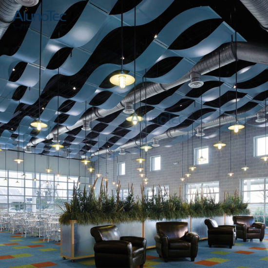 China Aluminium Suspended Wavy Ceiling Panels For Meeting