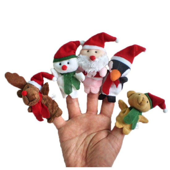 Story Time Christmas Santa Claus and Friends Soft Stuffed Plush Finger Puppets Toy