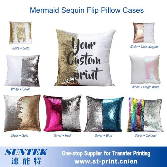 China Mermaid Sequin Pillow Case Cushion Cover for Sublimation