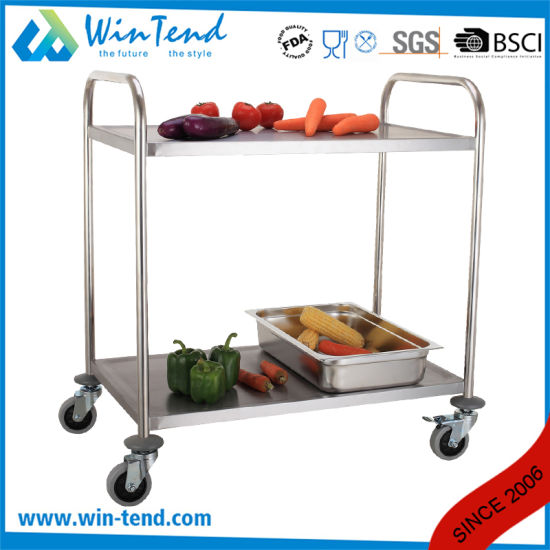 Stainless Steel 2 Tiers Round Tube Transport Trolley for Hospital Using pictures & photos