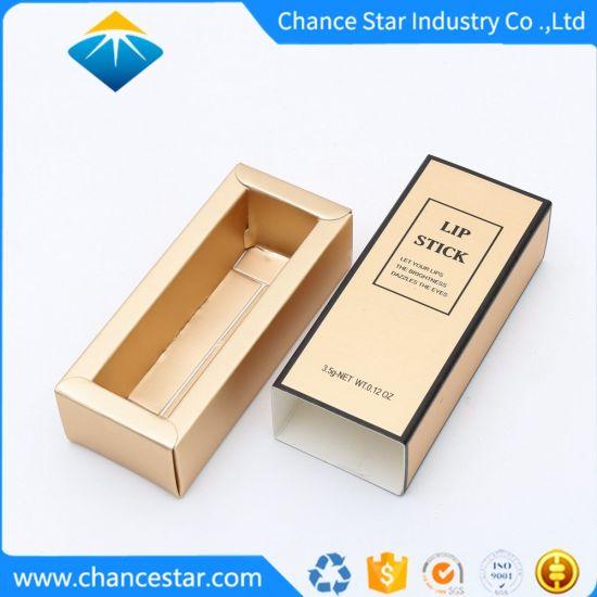 Custom Printed Drawer Type Gold Foil Paper Lipstick Box