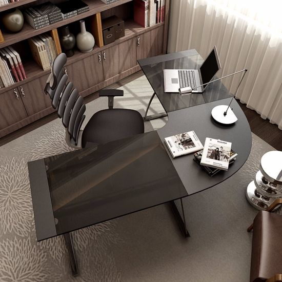 Tempered Glass L Shape Executive Office Desk For Office Furniture