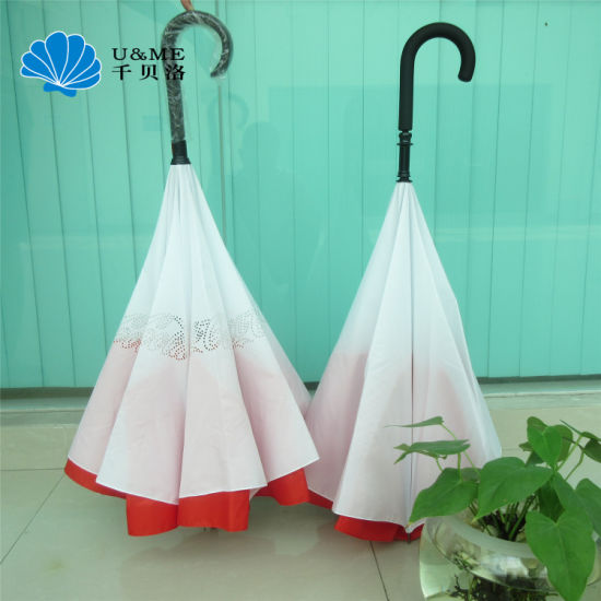 Reverse Upsidown Inverted Double Layer Double Canopy Car Furniture Umbrella