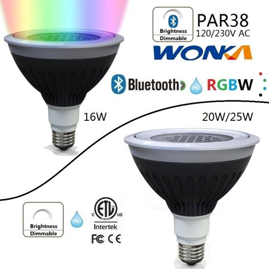 LED PAR38 RGBW Spotlight Lamp Bulb with IP67 for Outdoor Lighting