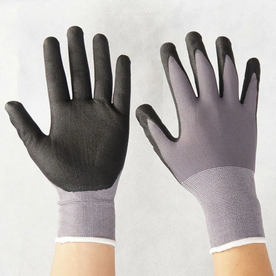 Safety Nylon Knit Work Gloves with Foam Technology Nitrile Coated