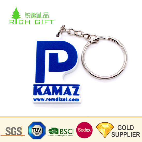 High Quality Custom Eco-Friendly PVC Rubber Alphabet Number Shaped Keychain  for Promotional Gifts