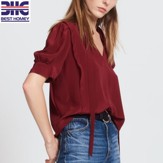 Silk Tops V Neck Ladies Fashion Blouses For Womens With Tie Collar China Short Sleeve Shirts And Printed Blouse Price Made In China Com