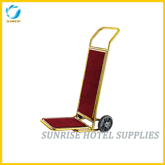 Golden Metal Baggage Trolley for Hotel