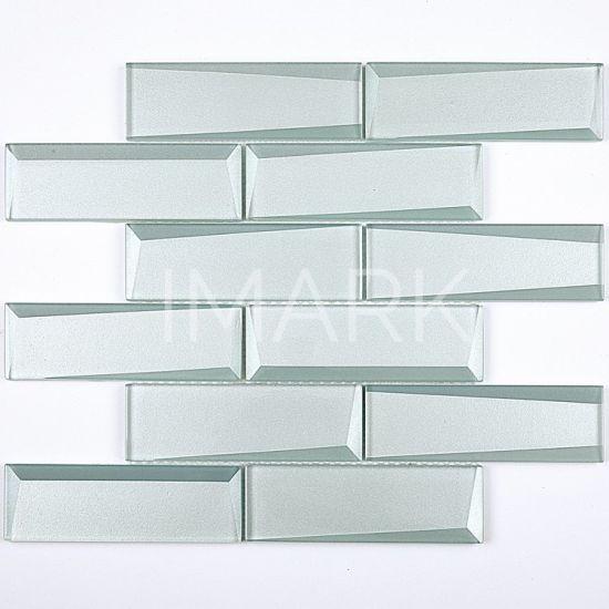 Aqua Crystal Subway Glass Mosaic, Glass Mirror Wall Tiles