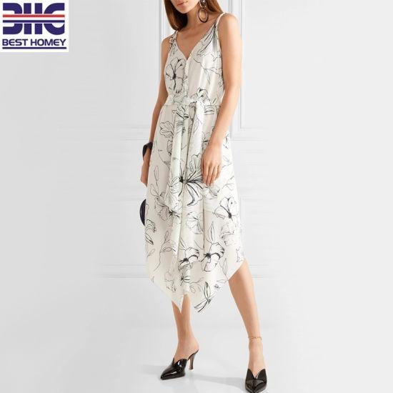 Women's 100% Silk Asymmetric Printed Crep De Chine Spaghetti Strap Design Fashion MIDI Spring Sexy Dress for Ladies