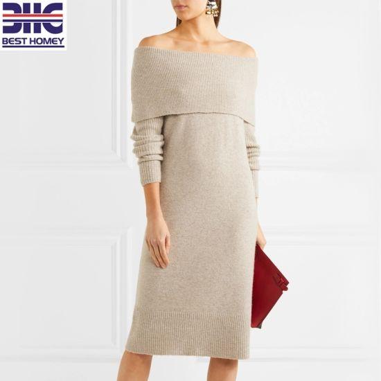 off Shoulder Ribbed Knitted Long Elegant Sweater MIDI Dress