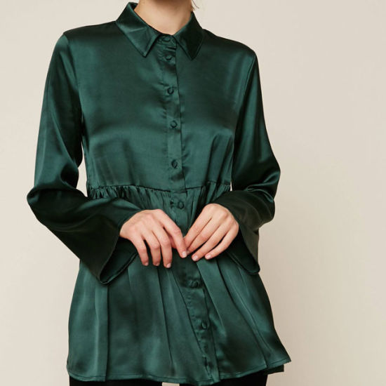 ca74560ea7cdf Hot Selling Long Sleeve Ladies Blouse Emerald Green Silk Blouse Models