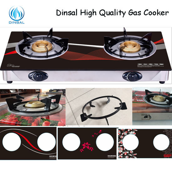 Double Burner Non-Magnetic Frame 7mm Tempered Glass Gas Stove (DS-GSG208)
