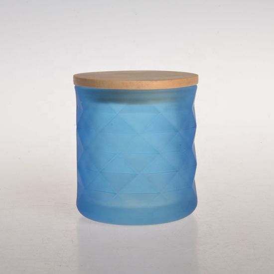 Home Use Decorative Glass Candle Holder Jar with Wooden Lid