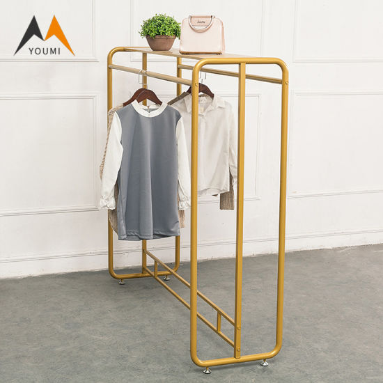Modern Gold Metal Clothes Display Racks Stands for Garment Shop