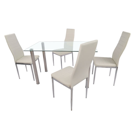 Top Dinner Furniture White Luxury Modern Tempered Glass Dining Table