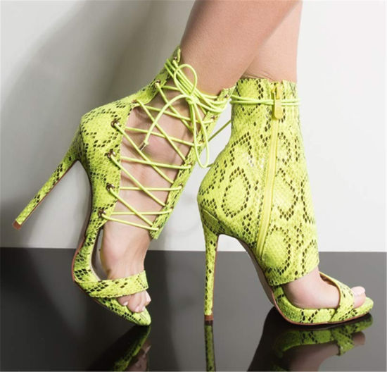 Snake Pattern PU Sexy Stiletto High Heel Women Ankle Lace up Sandals