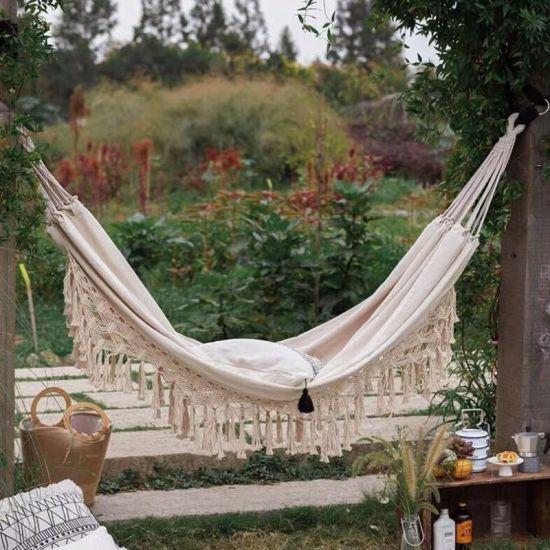China Cotton Hammock With Tassel Garden Patio Swing Bed Outdoor Hanging Hamac China Cotton Hammock And Sleeping Hammock Price