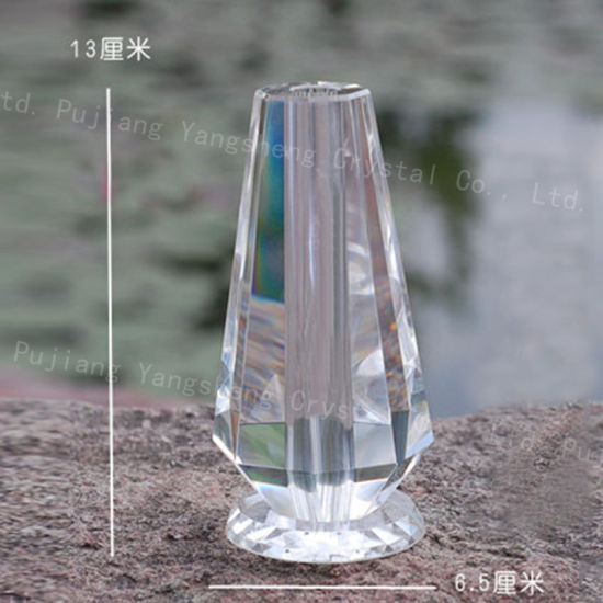 China Beautiful Clear Crystal Rose Glass Vase For Wedding Favor