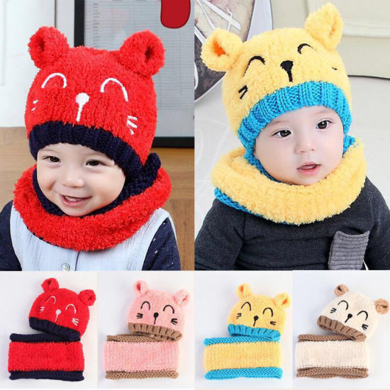 Lovely Winter Children Baby Caps Protect Ears Toddlers Baby Warm Cap Girls Ear Crochet Knitted Infant Hat for Kids Gift pictures & photos