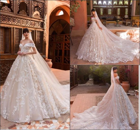 China Off Shoulder Wedding Dresses Blush Tulle Lace Bridal Ball