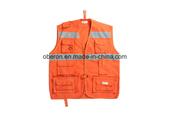Red/Orange Workers Security Reflective Tape Construction Safety Vest