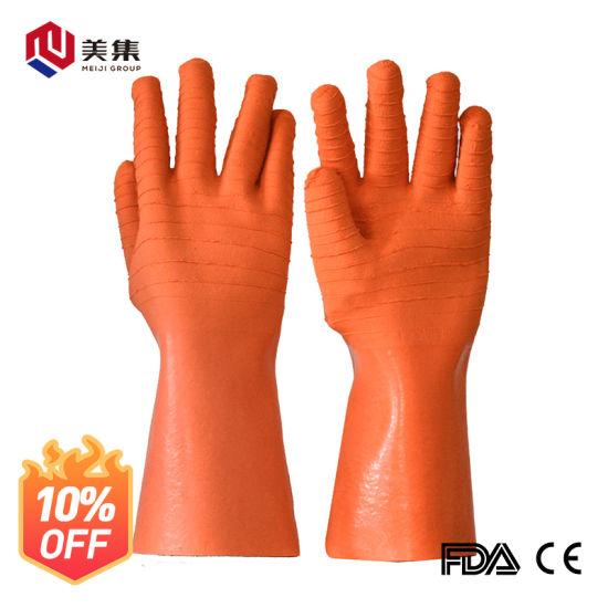 Good Quality Extra Long Sleeve Cotton Interlock Waterproof Anti-Skid Latex Wrinkle Safety Gloves
