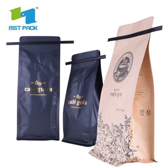 Coffee Bean Kraft Paper Packaging Bag Pouch with Tin Tie