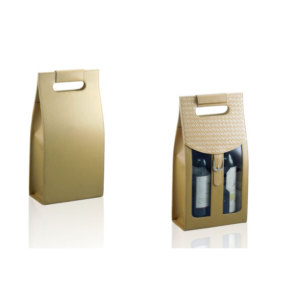 Serial PU Leather 2 Bottles Wine Bottle Storage Bag (2310) pictures & photos
