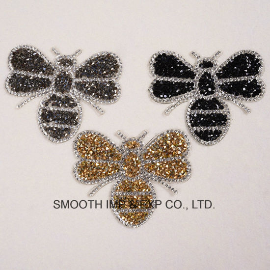 Bee Embroidered Rhinestone Patches Iron on Garment Hot Fix Applique