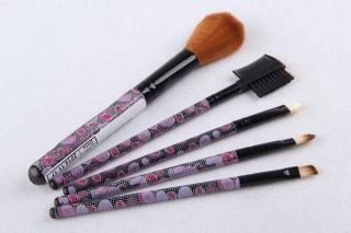 5PC Dotted Shimmering Pattern Plastic Handle Aluminum Tube Nylon Bristle Blush Makeup Brush Set