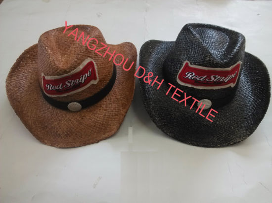Fashion Handmade Raffia Straw Hats /Sun Hat with Badge Logo