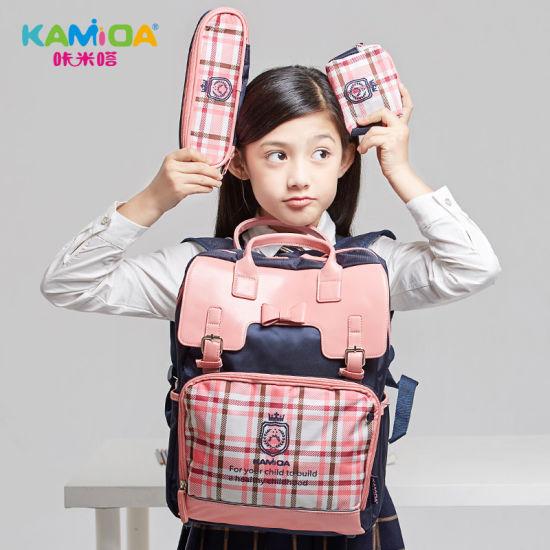 Kamida Customized Wholesale 3in1 Fashion British Plaid Student Bag Cute Teenage Girls School Shoulder Backpack